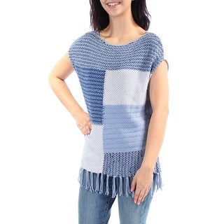 Womens Blue Sleeveless Jewel Neck Sweater Size M