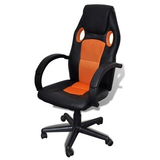 vidaXL Artificial Leather Office Chair Height Adjustable Swivel Orange