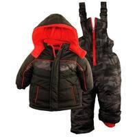 iXtreme Baby Boys Color Block Snowsuit Puffer Winter Jacket Ski Bib - 12 months