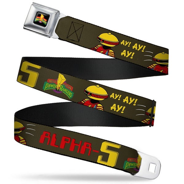 Power Rangers Logo Full Color Alpha 5 Pose Mmpr Logo Brown Webbing Seatbelt Seatbelt Belt