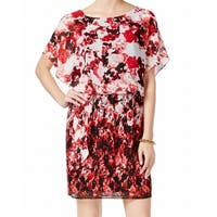 Connected Apparel Red Womens 12 Floral Print Blouson Shift Dress