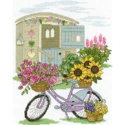 "8""X10"" 14 Count - Flowery Bicycle Counted Cross Stitch Kit"