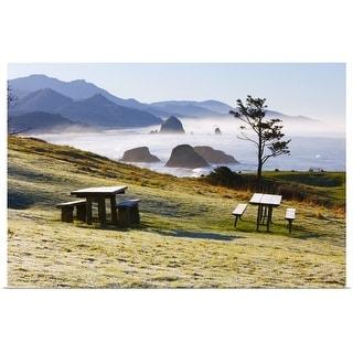 """Picnic benches near the foggy coastline of Ecola State Park, Oregon, USA"" Poster Print"