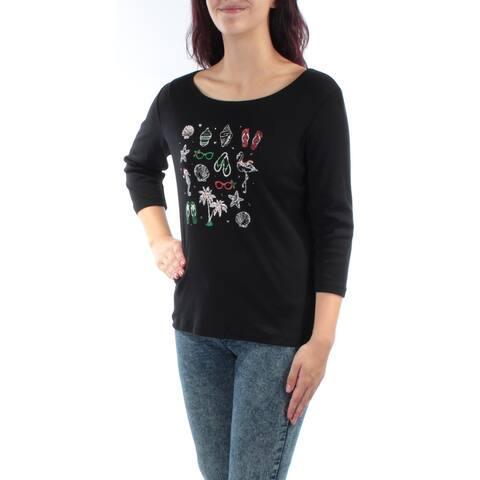 KAREN SCOTT Womens Black Printed 3/4 Sleeve Jewel Neck Top Size M