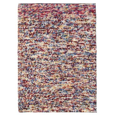 ECARPETGALLERY Braid weave Sienna Burgundy Wool Rug - 4'1 x 5'8