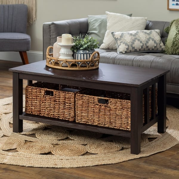 Shop 40 Inch Coffee Table With Wicker Storage Baskets Espresso Overstock 13850812