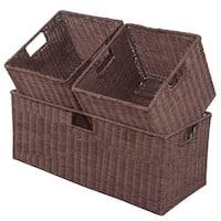 Costway 3PCS Rattan Storage Baskets Nest Nesting Cube Bin Box