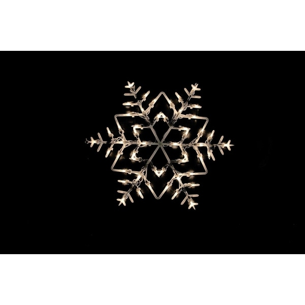 """18"""" White Lighted Snowflake Double Sided Christmas Window Silhouette Decoration"""