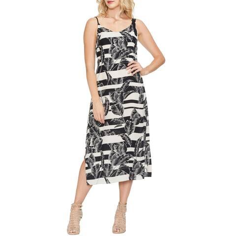 Vince Camuto Womens Tropical Shadows Maxi Dress 10 Rich Black