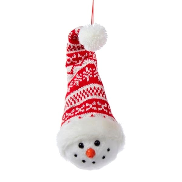 """9"""" Alpine Chic Red and White Nordic Snowman Head Christmas Ornament"""