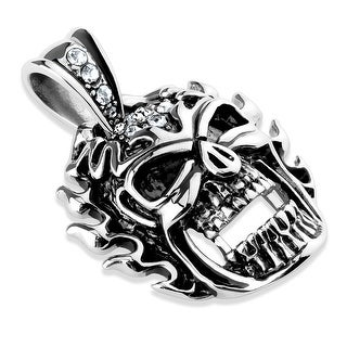 CZ Flaming Skull with Large CZ Clasp Stainless Steel Pendant (Sold Ind.)