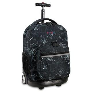 J World New York Sunrise 18 Inch Rolling Backpack, Love Black
