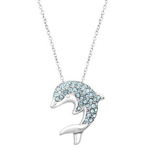 Aqua Crystal Dolphin Pendant in Sterling Silver