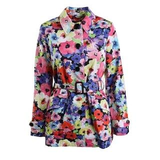 Lauren Ralph Lauren Womens Lilliane Trench Coat Twill Floral Print