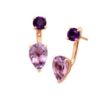 4 1/3 ct Natural Amethyst Convertible Front-Back Earrings in 14K Gold-Plated Sterling Silver - Purple