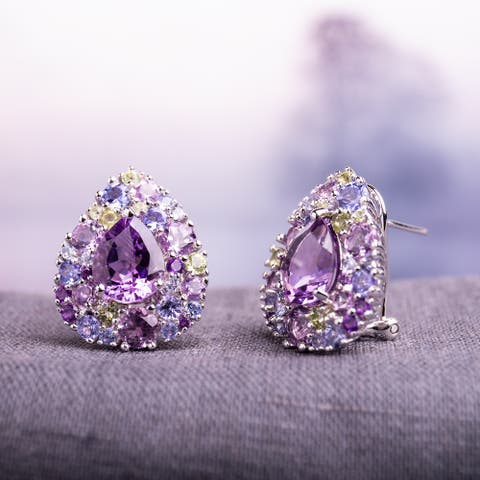 Miadora Sterling Silver Tanzanite Rose de France Peridot and Amethyst Halo Earrings