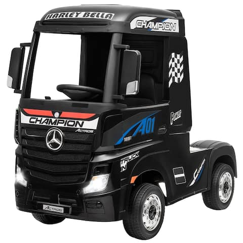Gymax 12V Electric Kids Ride on Car Mercedes Benz Actros w/ 2.4G - 49'' x 27'' x 40.5''