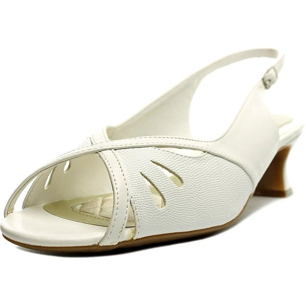 Easy Street Ilana Women  Open-Toe Synthetic White Slingback Heel