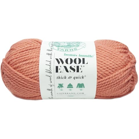 Lion Brand Wool-Ease Thick & Quick Bonus Bundle Yarn-Clay - Orange