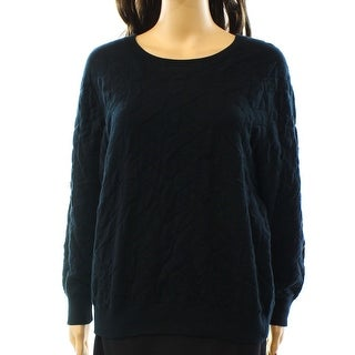 Leith NEW Black Deep Women's Size Large L Crewneck Textured Sweater