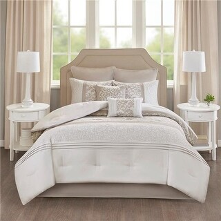 Lynda Embroidered Comforter Set, Neutral - King - 8 Piece