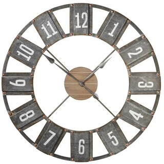 "36"" Distressed Gray and White Weathered Black Open Face Wall Clock"