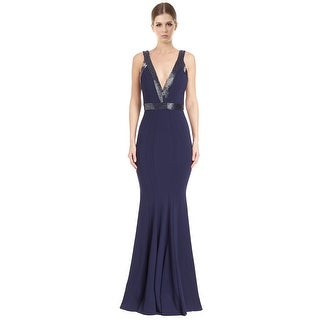 Jovani Fitted Ponte Beaded Trim Mermaid Evening Gown Dress