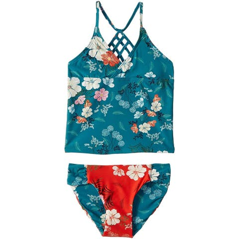 O'Neill Kids Girl's Lucy Revo Strappy Tankini Set, Island Turquoise,4 Little Kid
