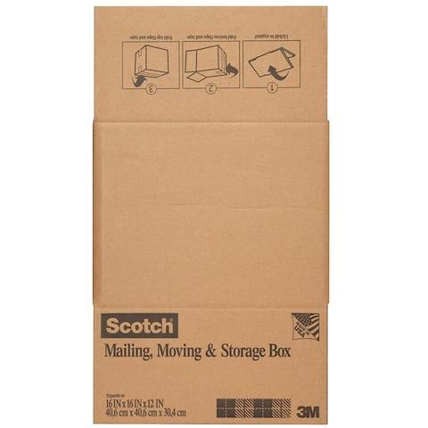 "Scotch 8016.2FB Folded Shipping & Storage Box, 16"" x 16"" x 12"", Brown"