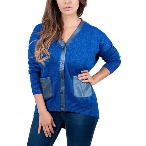 Maglierie Di Perugia V-Neck Electric Blue Lurex Cardigan