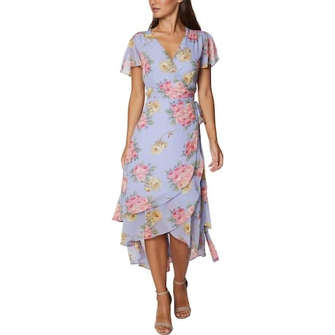 Betsey Johnson Women's Chiffon Floral Print Tiered Short Sleeve Wrap Dress - Blossom Bliss