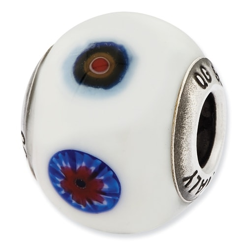 Italian Sterling Silver Reflections White with Decorative Accents Glass Bead