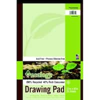 Ecology 40% Post Consumer Waste Heavy Weight Recycled Drawing Pad, 60 lb, 12 X 18 in, 40 Sheets