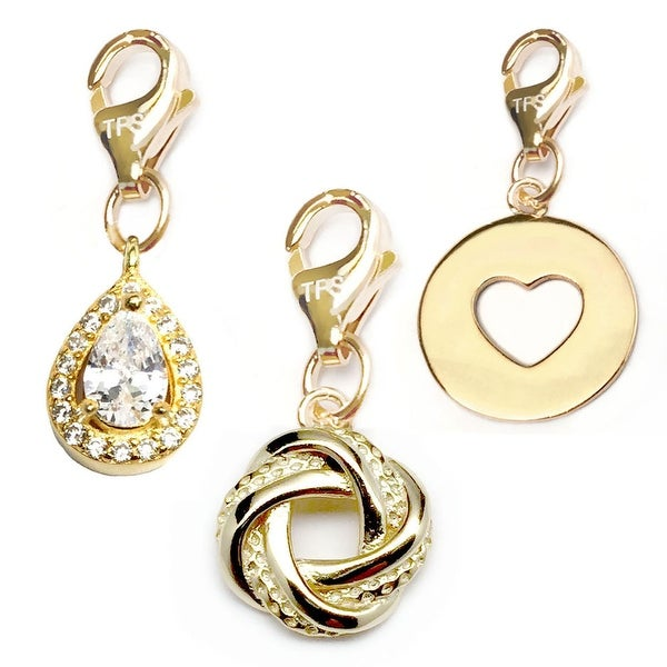 Julieta Jewelry Love Knot, Teardrop, Heart Disc 14k Gold Over Sterling Silver Clip-On Charm Set