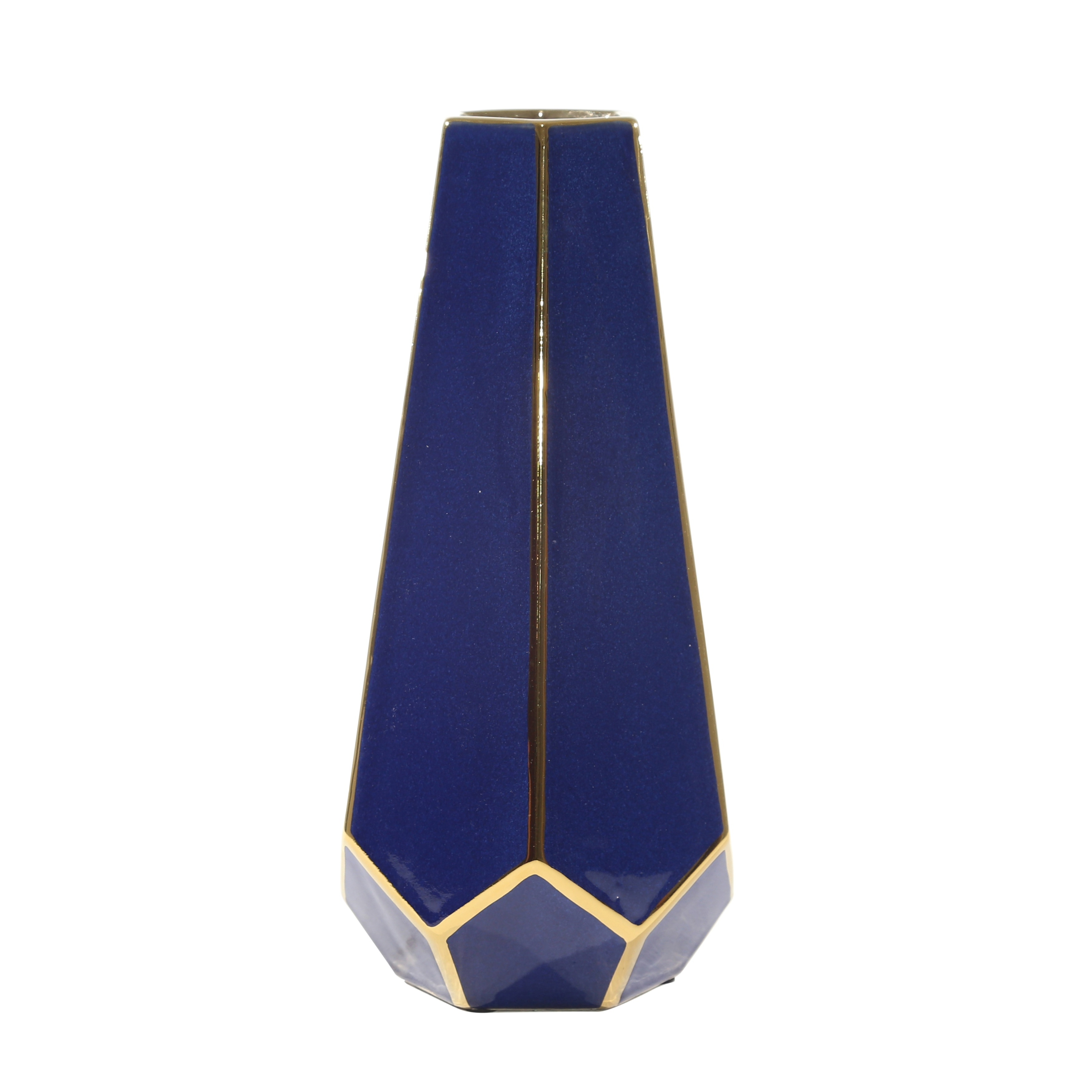 Decorative Faceted Art Vase in Ceramic, Large, Blue and Gold