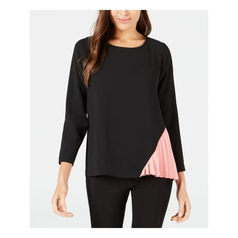 ALFANI Womens Black Color Block Pleated Side 3/4 Sleeve Top Size S