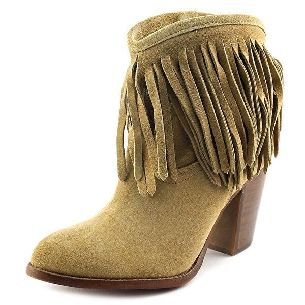 Frye Ilana Fringe Short Women Round Toe Leather Tan Ankle Boot