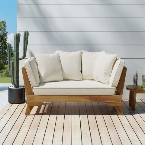 Serene Outdoor Acacia Wood Expandable Daybed with Water Resistant Cushions by Christopher Knight Home