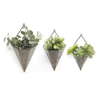 3Pc. Triangular Galvanized Wall Planters