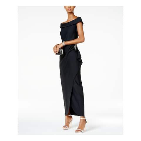 ALEX EVENINGS Black Short Sleeve Full-Length Body Con Dress Size 12