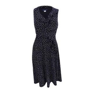 Tommy Hilfiger Women's Ruffled Polka-Dot A-Line Dress - Black/Ivory