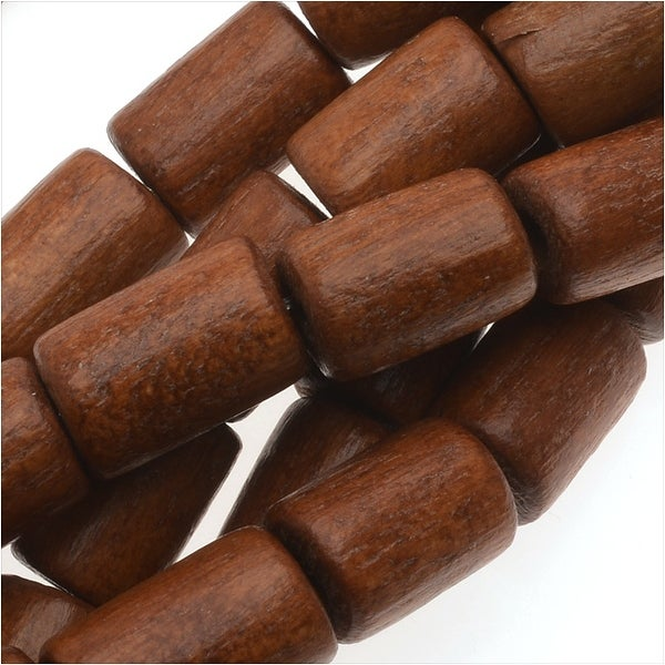 Pukalet Wood Beads, Dyed Round Tubes 10x7mm, 42 Pieces, Bayong Brown Lacquer