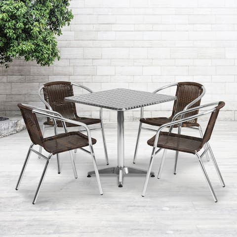 """27.5"""" Square Aluminum Indoor-Outdoor Table Set with 4 Dark Brown Rattan Chairs"""