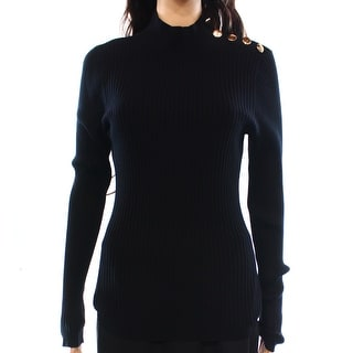 INC NEW Black Women's Size XL Turtleneck Mock Ribbed Button Sweater