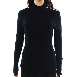 INC NEW Black Womens Size Large L Mock-Neck Button-Detail Ribbed Sweater