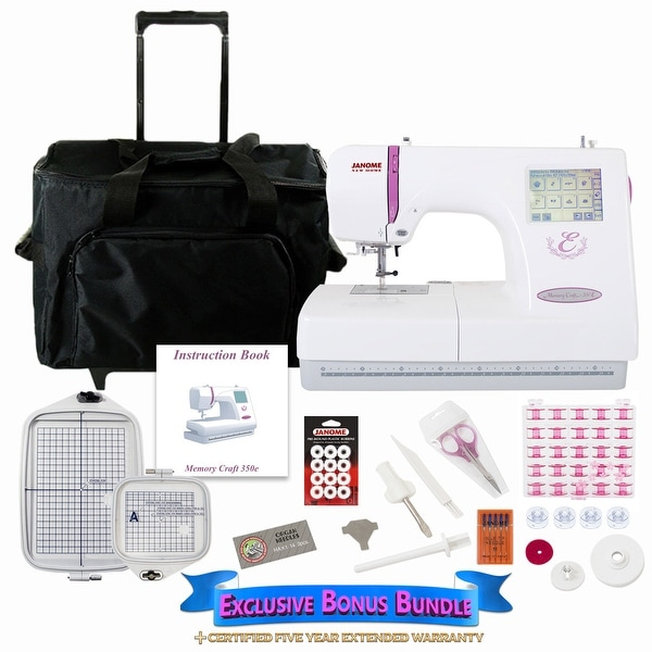 Janome Memory Craft 350E Embroidery Machine w/ Bonus Bundle