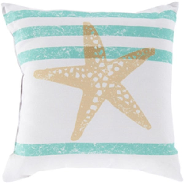 "18"" Light Gray and Moss Green Star Fish Wonders Decorative Pillow Shell"