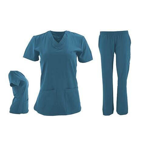 DSF Women's Four Stretch V-Neck Mesh Panel Scrub Set Top Cargo Pants