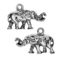 Nunn Design Charm, Elephant with Tusks 14x20mm, 2 Pieces, Antiqued Silver