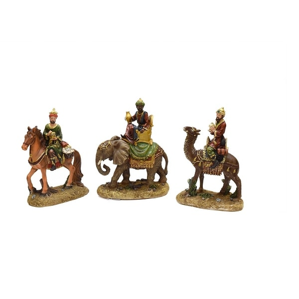 3-Piece Religious Three Kings on Animals Christmas Nativity Table Top Figurines 8""